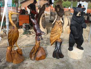 Carvings by Chad Danczyk of Mosinee, Wis., on display.