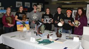 Art students winning awards in pottery and sculpture were (from left) Lexi Tabbert, Nicole Groth, Jacob Mahon, Katelyn Shriver, Amarah Dykema, Holly Bray and Rachel Ortega.