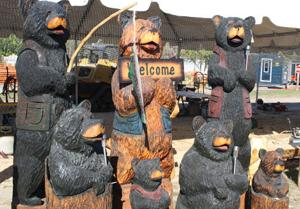 This group of bears was carved by Brian Lee of Floodwood.