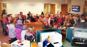 WHA sixth- and second-graders sing at Bank Forward open house