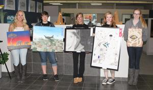 Alexis Wynn (from left), Alexis Kalli, Jessica Gapinski, Kathryn Burpo and Kylie Degrote won awards in painting and drawing.