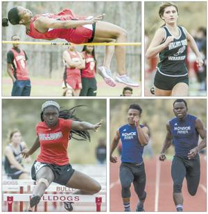 <p>(Clockwise, from top left) Loganville's Imani Arnold clears the bar as she went on to win the high jump event at last week's Walton County meet; Walnut Grove's Alyssa Stephens eyes the finish line in the 100-meter dash; Monroe Area's Jabari Perry (left) and Keion Camp (right) compete in the 100-meter dash; and George Walton's Morgan Robinson took first place in the 100-meter hurdles.</p>