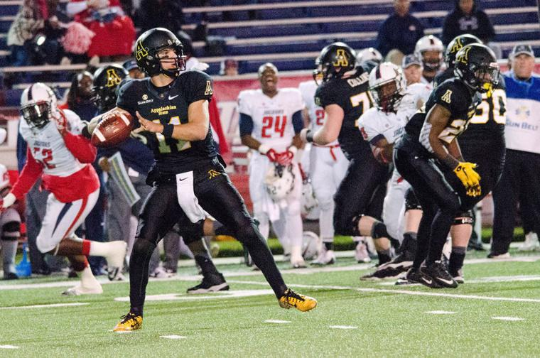 Appalachian State quarterback Taylor Lamb throws the ball against South Alabama on Dec. 5. (Allyson Lamb/Appalachian State athletics)