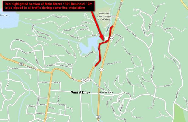 Section of Main St. in Blowing Rock to close