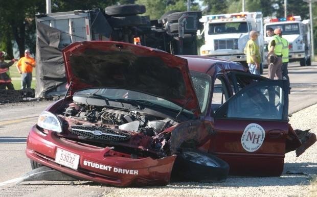 troopers investigate driver 39 s ed car semi crash local news. Black Bedroom Furniture Sets. Home Design Ideas