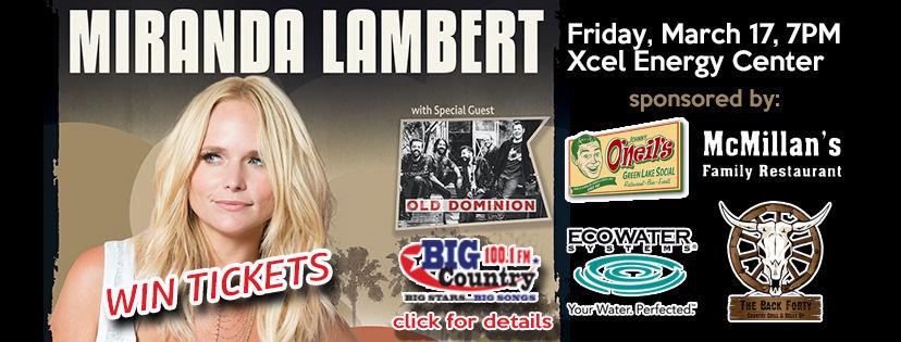 Win Miranda Lambert tickets with Big Country 100.1