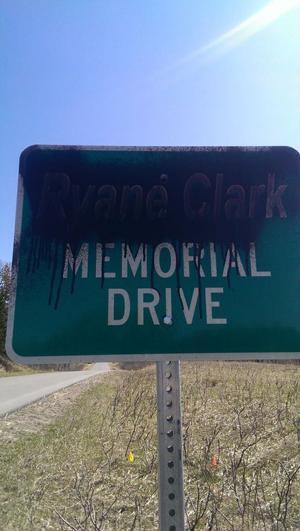Vandals deface Ryane Clark sign