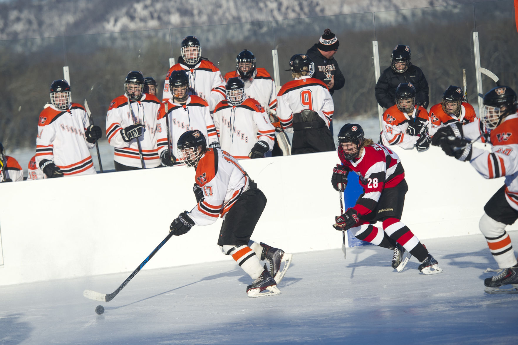 MN H.S.: 'A Great Day' - Winhawks, Scarlets Can't Get Enough Of The Outdoor Hockey Experience