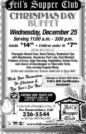 Feil's Supper Club - Christmas Day Buffet