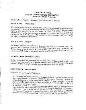 Town of Orange mining ordinance