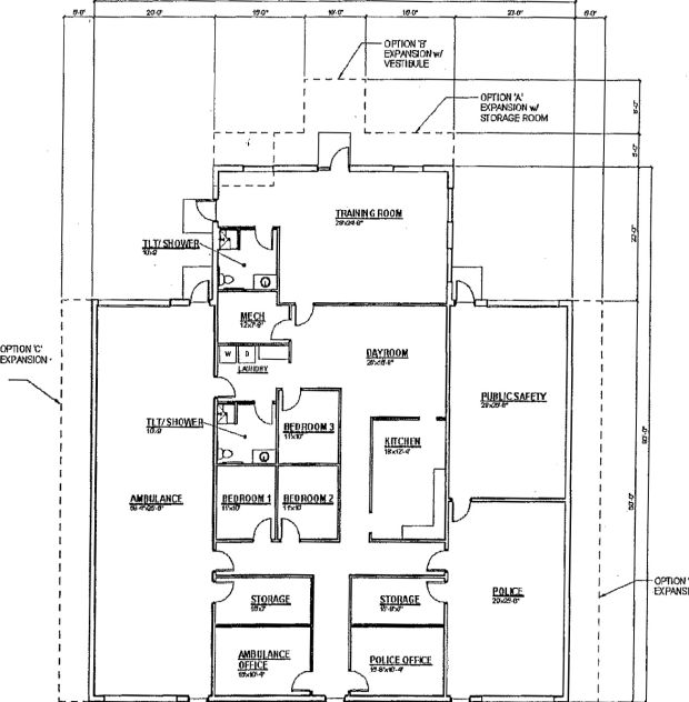 Proposed Necedah Public Safety Building Floor Plan