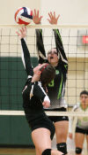 Megan Thompson with the block attempt