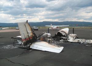 Thieves siphon gas at airport, plane burns