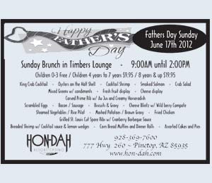 Hon-Dah - Sunday Brunch in Timbers Lounge - 9:00AM until 2:00PM