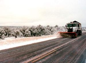 Winter road conditions in the Apache-Sitgreaves National Forests