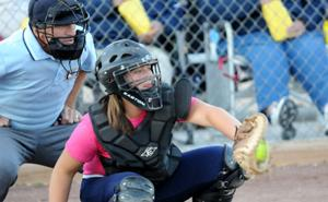 York catcher Adrienne Gocke e takes a good look as York catcher Adrienne Gocke corrals a pitch from Duke hurler Taylor Kadavy