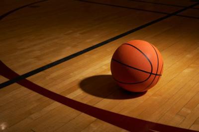Basketball on basketball court stockimage