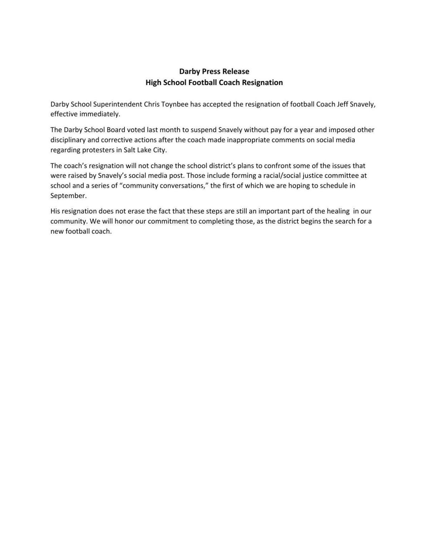 Darby Schools press release