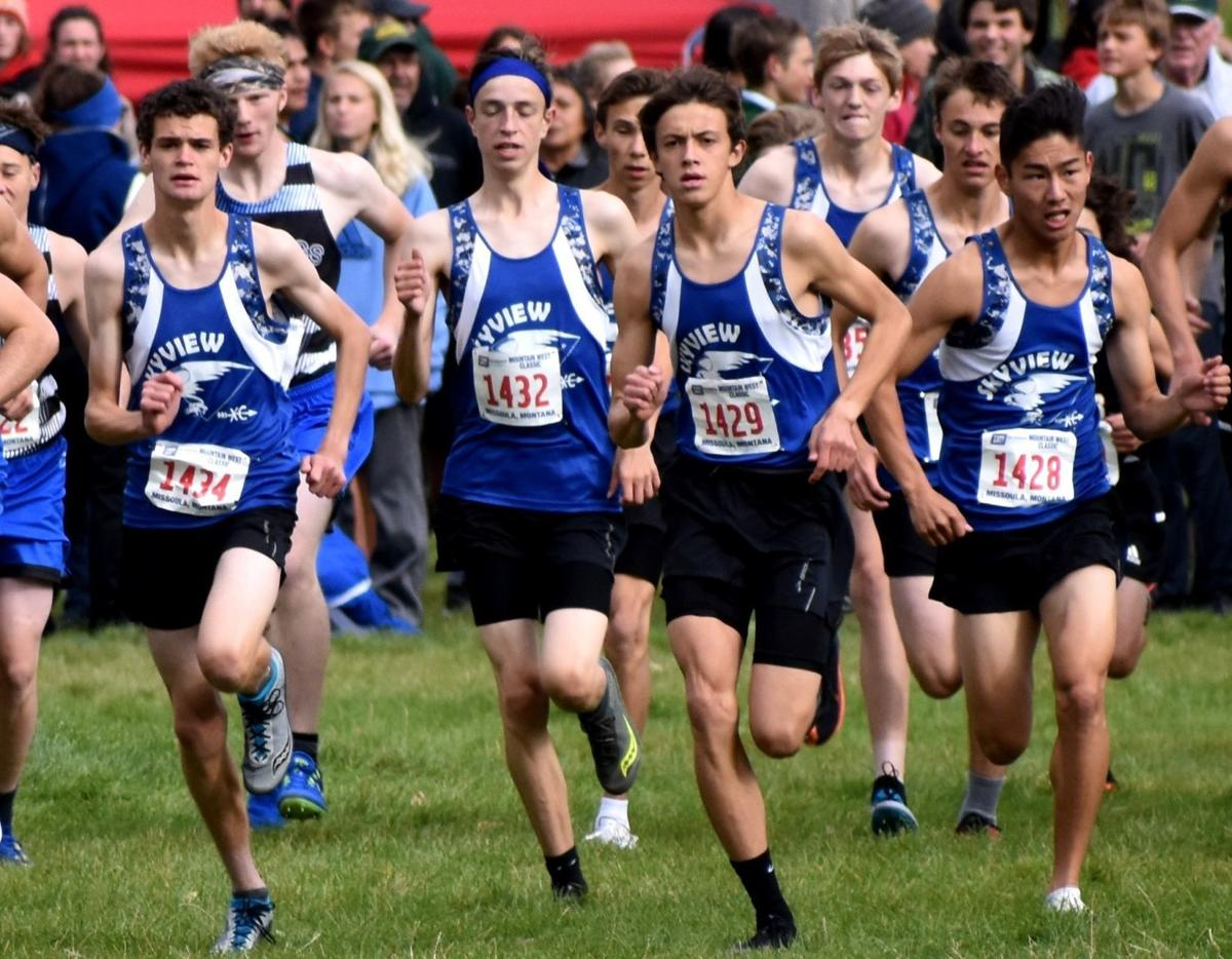 The Billings Skyview boys at the Mountain West cross country meet