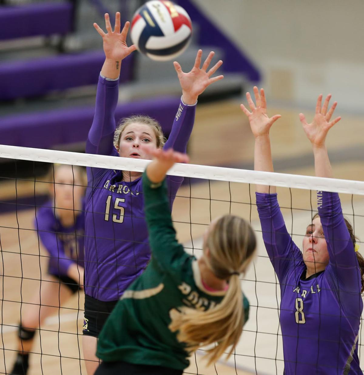 rocky mountain college volleyball overcomes carroll