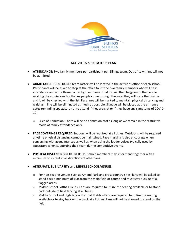 Billings Public Schools spectator plan