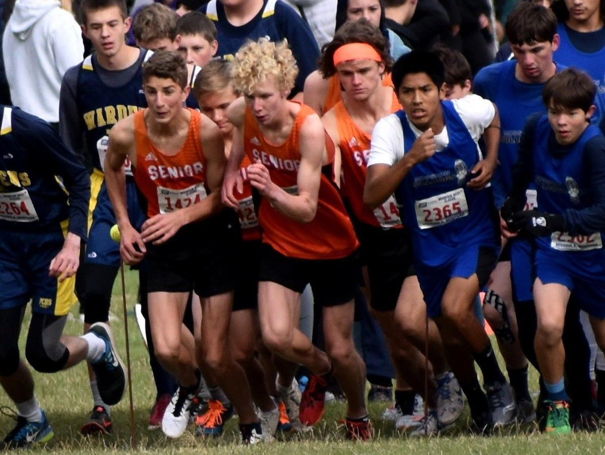 The Senior boys cross country team starts at the Mountain West