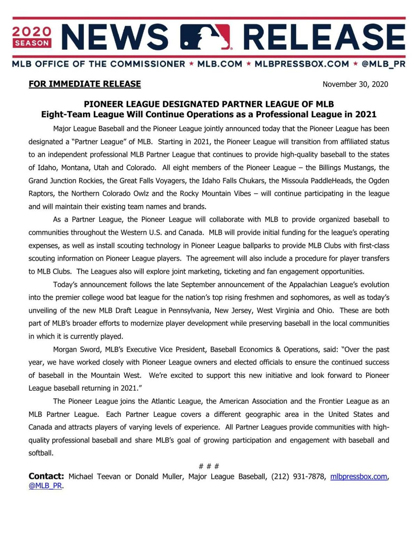 MLB press release
