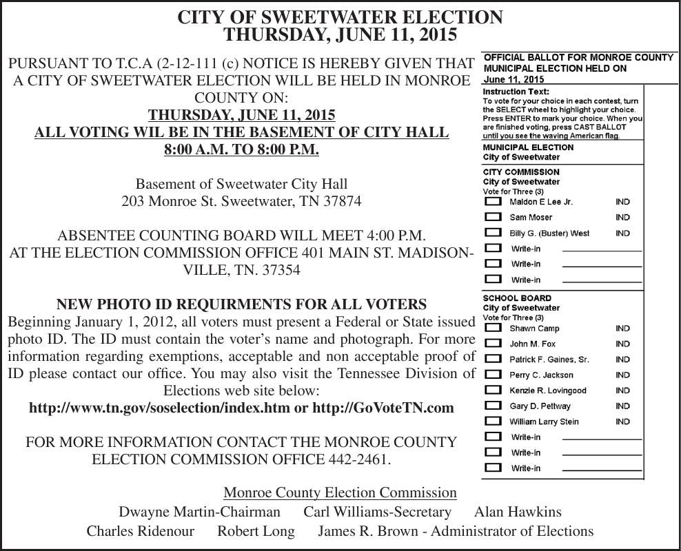 CITY OF SWEETWATER ELECTION