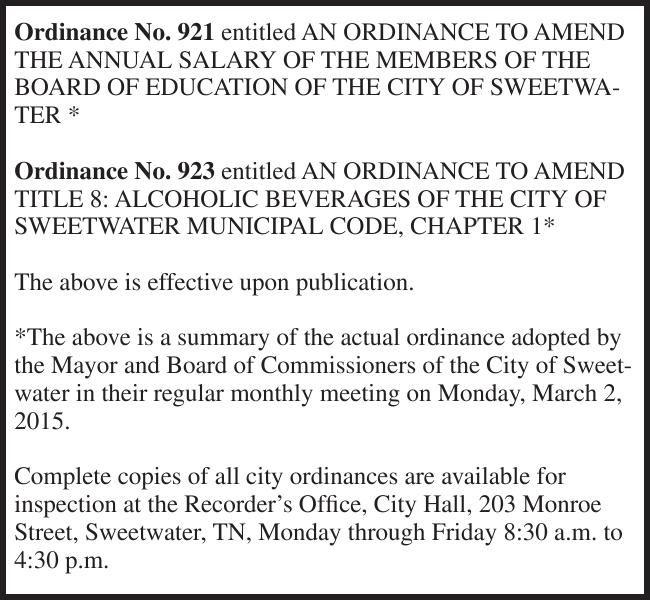 Ordinance No. 921 entitled AN ORDINANCE TO AMEND
