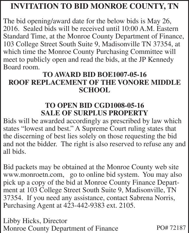 INVITATION TO BID MONROE COUNTY, TN