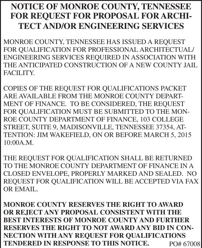 NOTICE OF MONROE COUNTY, TENNESSEE | Legal Announcements
