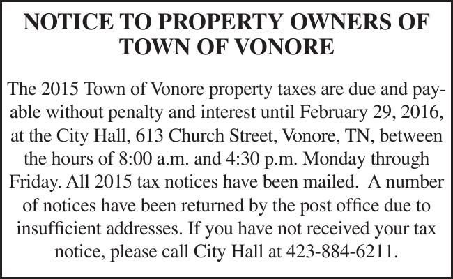 NOTICE TO PROPERTY OWNERS OF