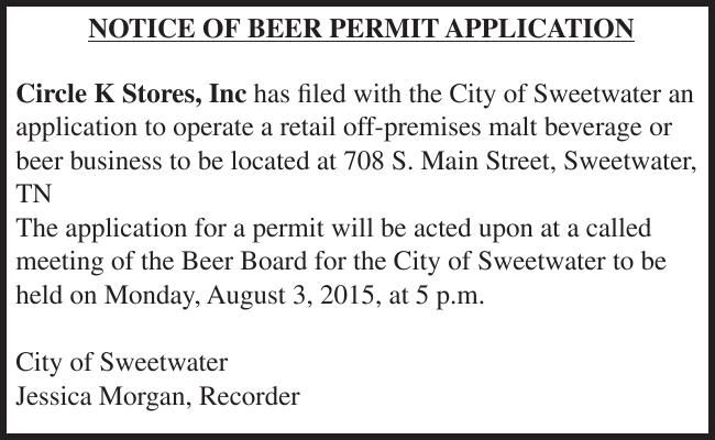 NOTICE OF BEER PERMIT APPLICATION