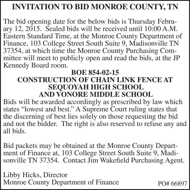 INVITATION TO BID MONROE COUNTY, TN