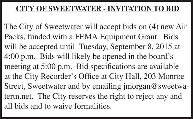 CITY OF SWEETWATER - INVITATION TO BID