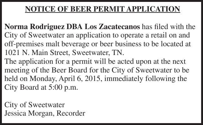 NOTICE OF BEER PERMIT APPLICATION