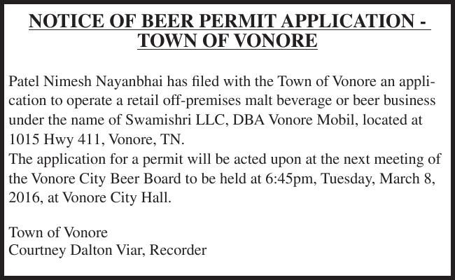 NOTICE OF BEER PERMIT APPLICATION TOWN OF VONORE