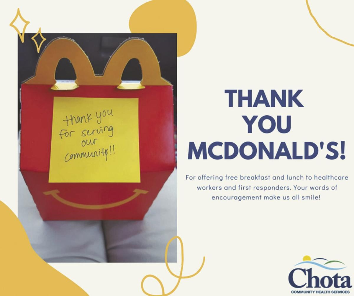 McDonald's offers free meals to health care workers