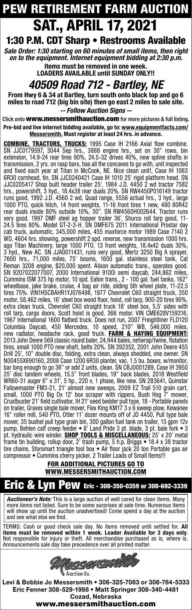 Pew Retirement Farm Auction