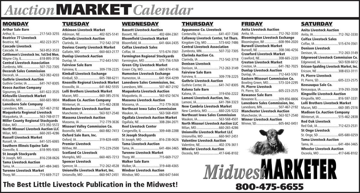Auction Market Calendar | Livestock Sales | agupdate.com