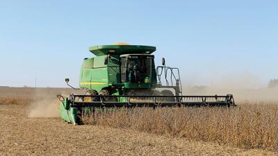 Combine beans east central Iowa