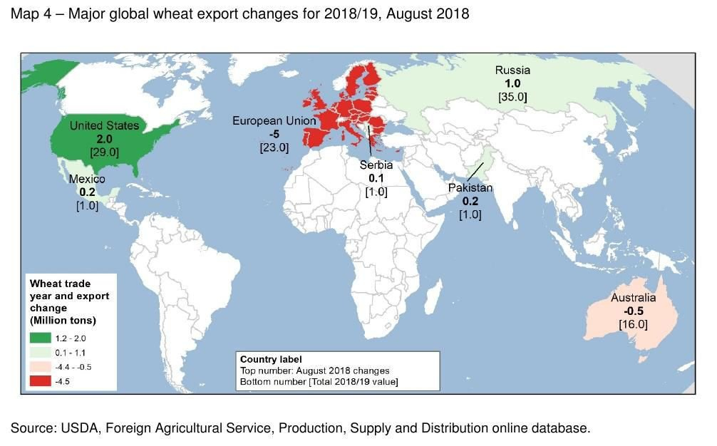 Map 4: Major global wheat export changes for 2018-19, August 2018