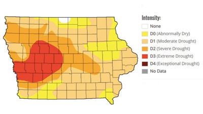 U.S. Drought Monitor map of Iowa released Sept. 3