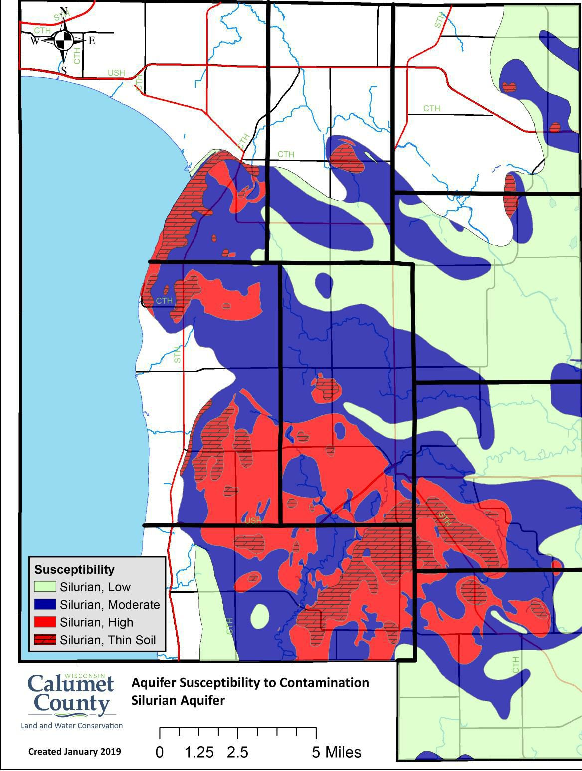 Silurian aquifer susceptibility in Calumet County, 2019