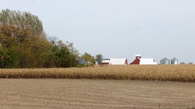 Illinois harvest farm scene
