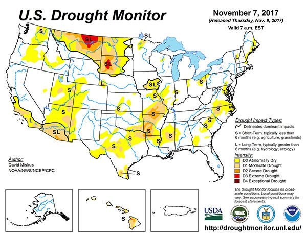 US Drought Monitor Map State Regional Agupdatecom - Us 17 map