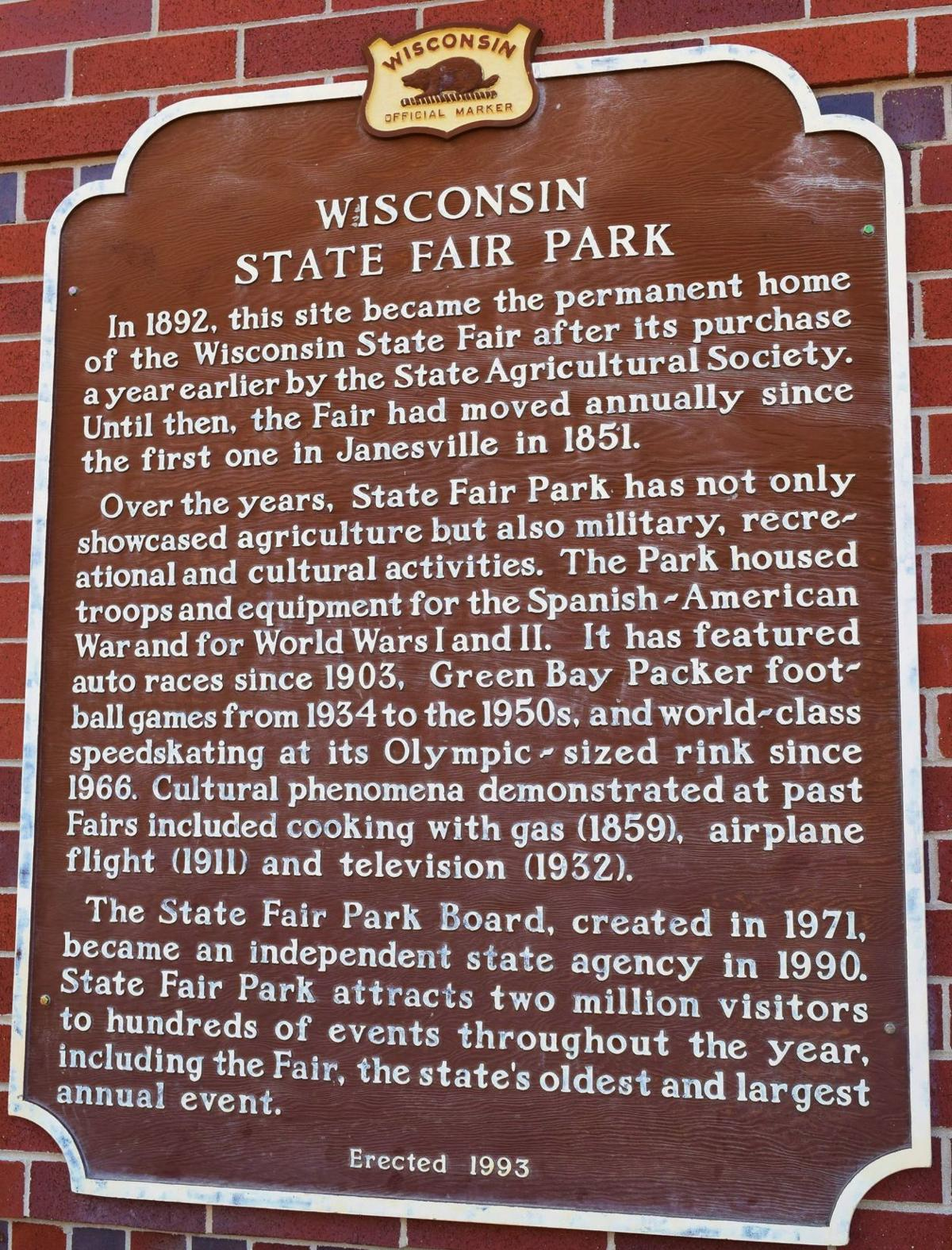 Wisconsin State Fair historical plaque
