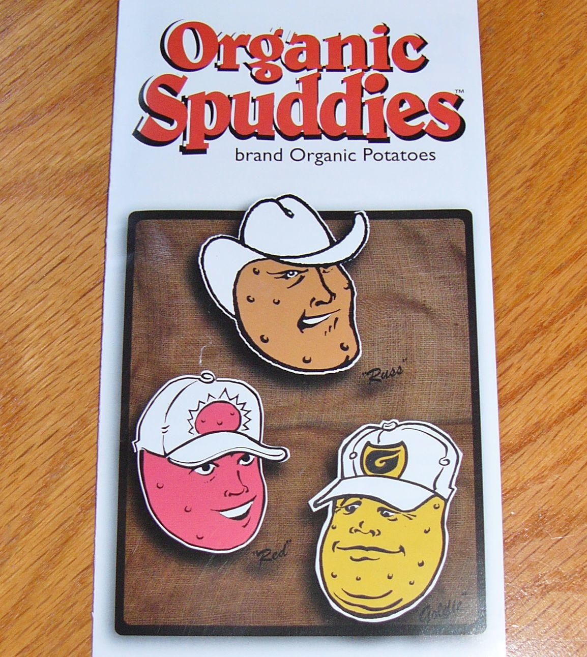 Organic Spuddies feature farmers' faces
