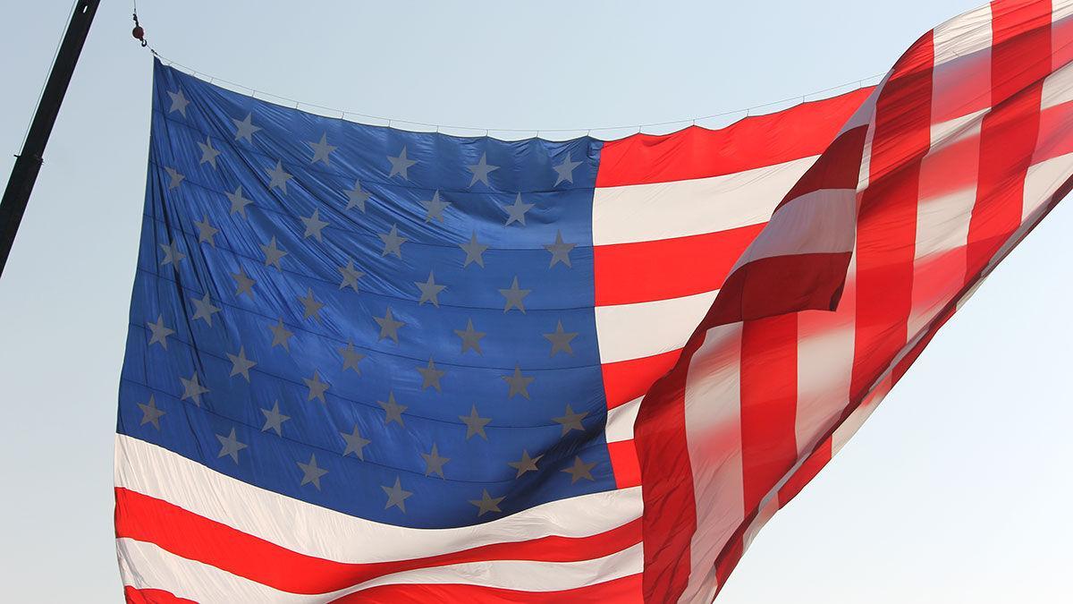 Flag on crane close up
