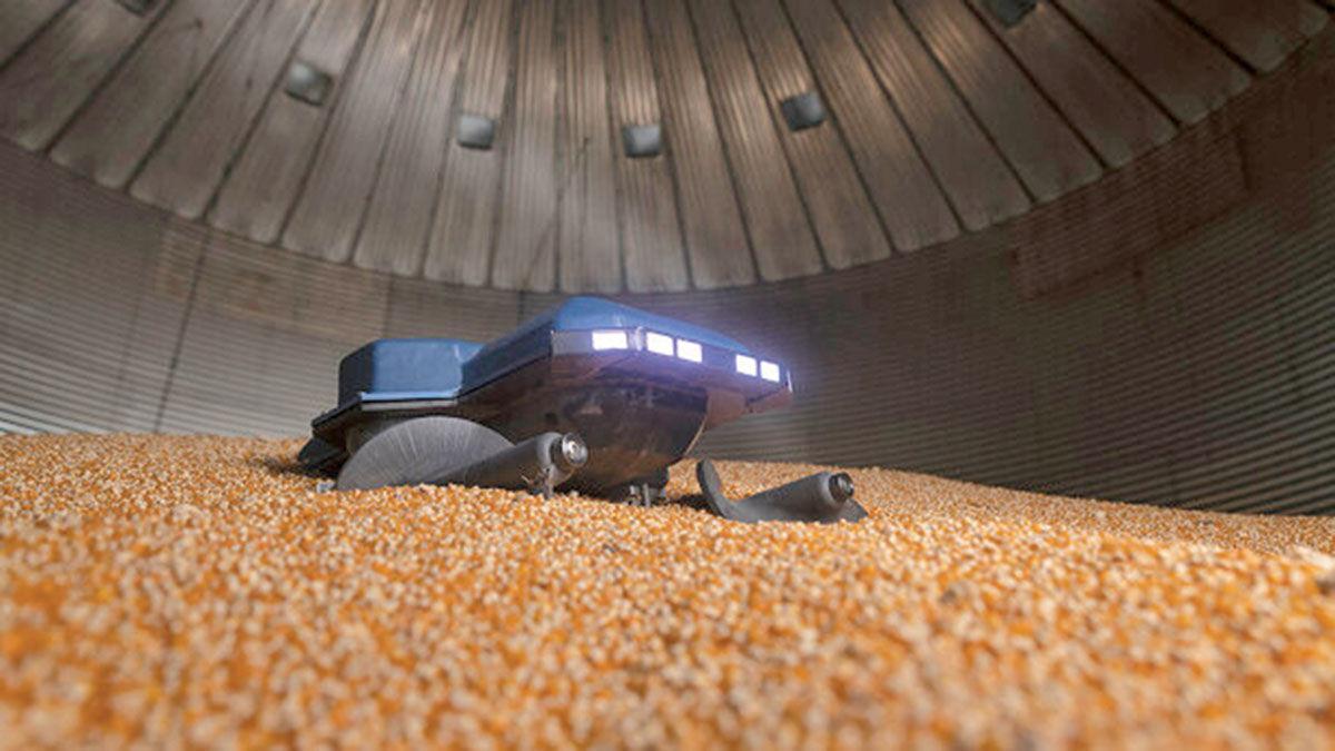 grain-safety robot in bin